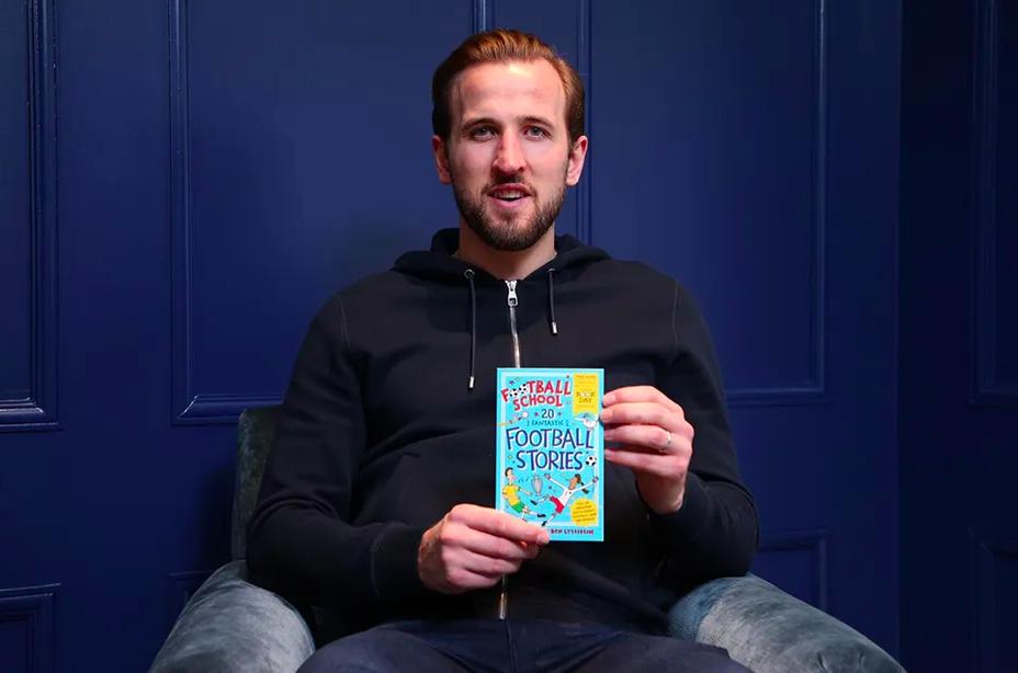 England Captain Harry Kane celebrates Football School World Book Day. Image © PREMIER LEAGUE 2021